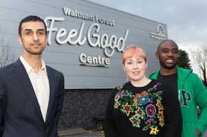 Cllr Ashan Khan with the Feel Good Champions outside the Waltham Forest Feel Good Centre